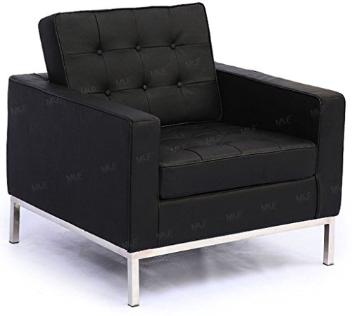 MLF Florence Knoll Style Sofa Armchair, Black Top Grain Italian Leather