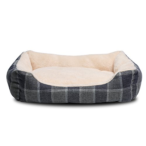 JEMA Rectangle Pet Dog Sofa Bed - Comfortable Two-sided Cashmere Cushion, Lattice Patterned Linen Fabric Cover, Square Bed for Dog and Cat With Non-slip Bottom - Lattice Base