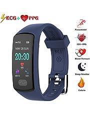 Fitnesstracker, bluetooth, met ECG + PPG, hartslag, ceerkeer armband met stappenteller, slaapmonitoring, voor heren, dames en kinderen