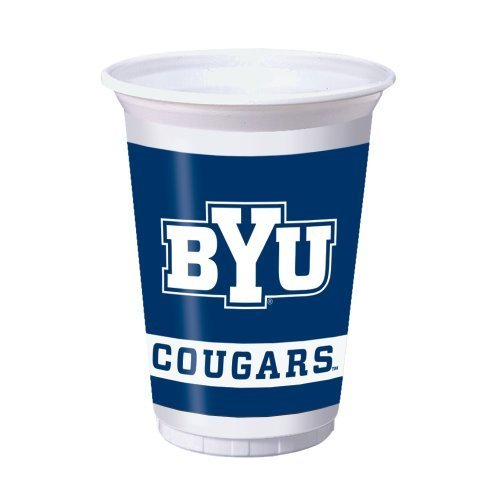 Creative Converting 8 Count Byu Cougars Printed Plastic Cups, 20-Ounce