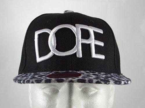 New Dope Black Gray Leopard Embroidered Adjustable Snap Back Baseball Hip Hop Flat Bill Hat Cap