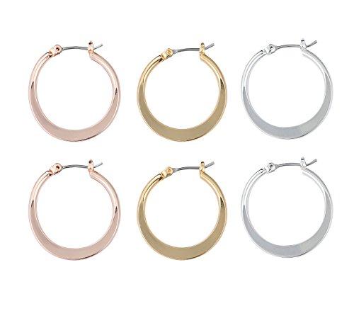 - Midium Flattened Hoop Earring Set of 3 pairs HEA00202