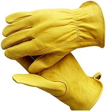 RongAi Chen メンズレザードライバーワークグローブ、ラージ、ゴールド (Color : Yellow, Size : S)