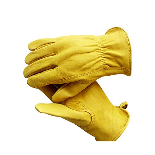 Men's Leather Driver Work Glove,Large, Gold (Color : Yellow, Size : S-Ten pairs)