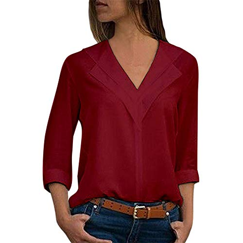 Sunhusing Women's Solid Color V-Neck Long Roll Sleeve T-Shirt Pullover Office Ladies Comfort Casual Chiffon Top
