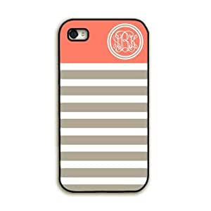 WMSHOPE? iPhone 4 4s Case Cover TANGERINE WITH GRAY STRIPES MONOGRAMMED S CELL