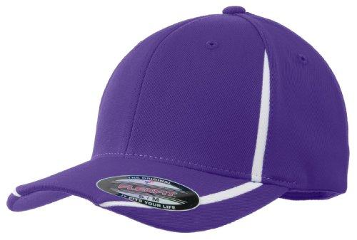 Sport-Tek STC16 Flexfit Performance Colorblock Cap - Purple/White - L/XL ()
