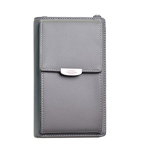 UFACE Modedamen Lange Multi-Card Brieftasche Handy-Paket Diagonal Paket Mode Frauen Leder Reine Farbe Messenger Bags MüNztasche Handytasche Grau
