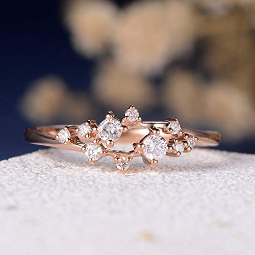 Amazon Com Engagement Ring Diamond Cluster Ring Twig Floral
