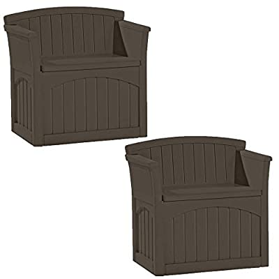 Suncast 31 Gallon Patio Seat Outdoor Storage and Bench Chair, Java | PB2600J (2 Pack)