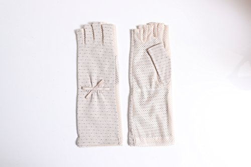 Women Sunblock UV Protection Cool touch fabric Mesh Ribbon Dots Outdoor Fingerless Gloves Summer Japan Import by GlovesDEPO Beige