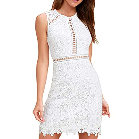 - 41F18kZR87L - HiLady Women's Elegant Sleevesless White Floral Lace Party Prom Cocktail Dresses