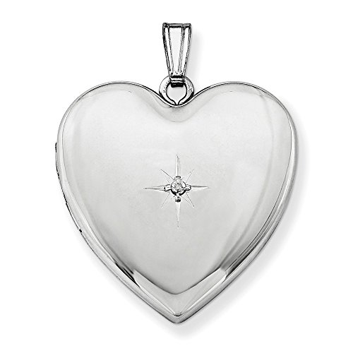Sterling Silver 24mm with Diamond Star Design Heart Locket