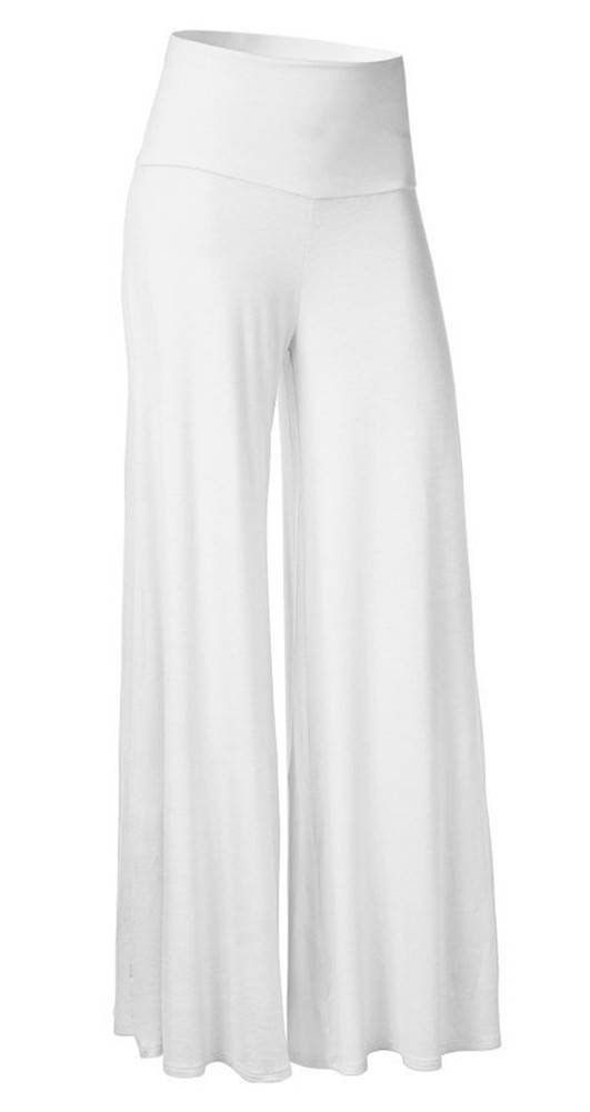 SL Women's Soft Wide Leg Palazzo Pants with High Fold Over Waist Band White 2XL