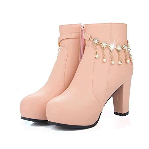 AgooLar Women's Solid High Heels Round Closed Toe Pu Zipper Boots Pink HtC38r