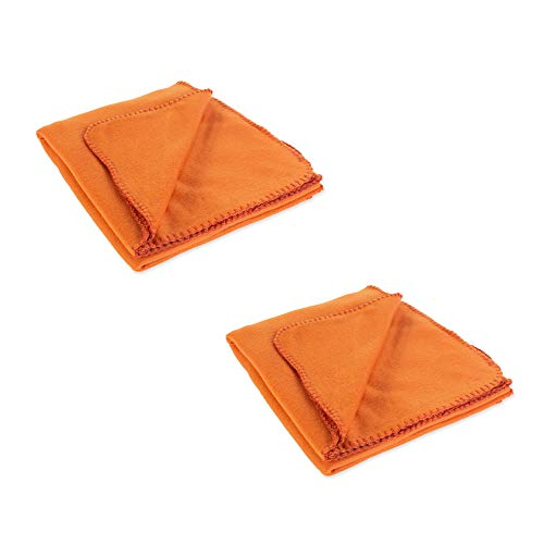 J&M Home Fashions Solid Polar Fleece Throw Blanket 50x60, Set of 2, Reversible Fuzz Soft Warm Breathable Fluffy for Bed, Chair, Couch, Picnic, Camping, Beach, Travel-Clay Orange