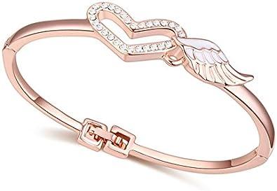 Femmes Or Rose Cristal Cœur Ange Aile Bracelet Jonc Chaîne Bracelet Bijoux