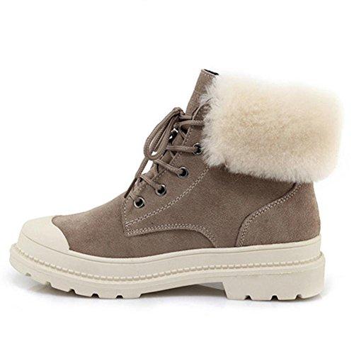 Leather Heels KHAKI Flat Plush Student Ankle Casual Boots Short 37 Women Shoes Shoelace qxY6tB