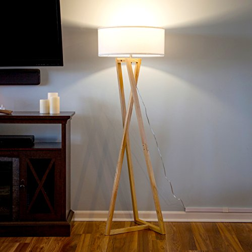 Brightech''Z'' Wood Tripod LED Floor Lamp - Mid Century Modern Light for Living Rooms & Family Rooms - Tall Standing Lighting for Contemporary Bedrooms & Offices by Brightech (Image #1)