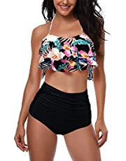AMAGGIGO Maillot de Bain pour Les Femmes Taille Haute Halter Vintage Push Up Bikini Ensemble Dames Plus La Taille 2 Pièces Maillots de Bain (FBA)