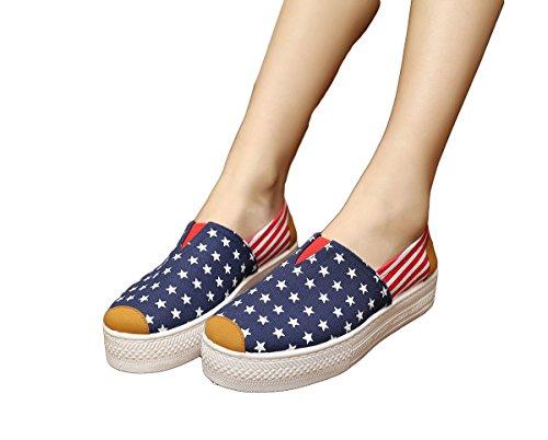 Solilor Women's American Flag Patriotic Slip On Skateboard Canvas Shoes, 36EU, Blue