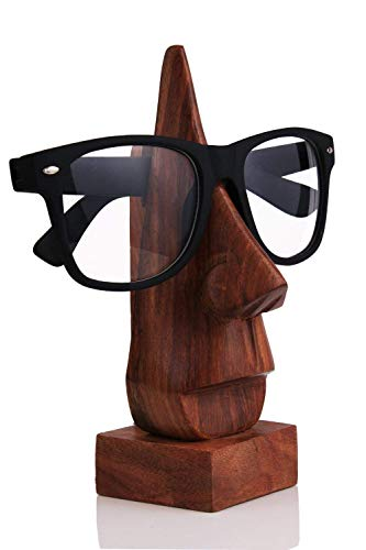 - Witty Mango Wood Polish Wooden Spectacle Holder - Nose Shaped Eyeglass Holder Display Stand - Desktop Accessory (Eye Display) - 6 inch, Brown