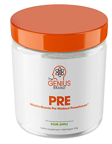 Genius Pre Workout Powder - All Natural Nootropic Preworkout & Caffeine Free Nitric Oxide Booster w/Beta Alanine & Alpha GPC | Boost Focus, Energy & NO | Muscle Builder Supplement -Sour Apple - 20SV - L-tyrosine Fat Burner