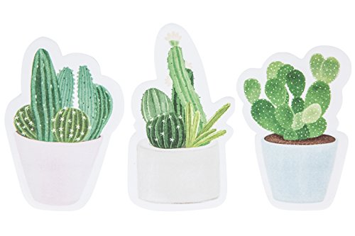 Cactus Sticky Notes Memo Note Pads Set of 3