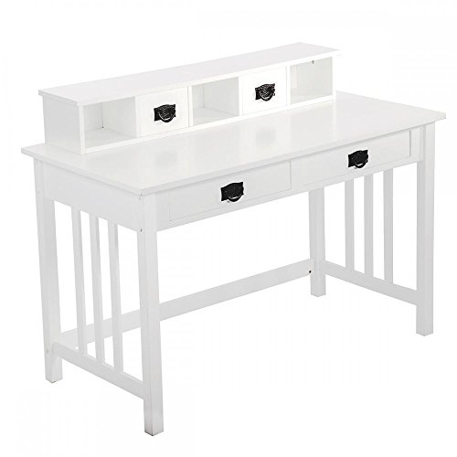 White Writing Contemporary Desk Home Office Furniture Wood Drawers Storage by FDW