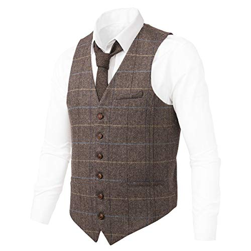 Mens Brown Tweed - VOBOOM Men's Slim Fit Herringbone Tweed Suits Vest Premium Wool Blend Waistcoat (Style2- Plaid Light Coffee, XXL)