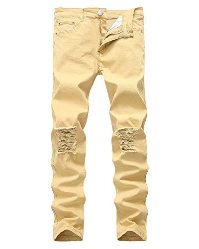 DaiHan Recta,Jeans Hombre Ajustados E los Pantalones, de Rasgados Jeans Estilo Ocio Hombres,Destruido Pernera Vaqueros para Hombre rX8qar