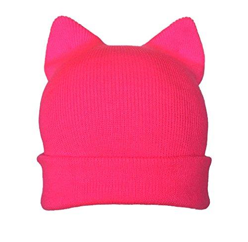 cat hat hot Pink Black for Men Womens March US Handmade Winter hat