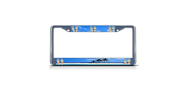 BLACK PLAIN FLIP FLOPS Heavy Duty Metal Chrome License Plate Frame Tag Border