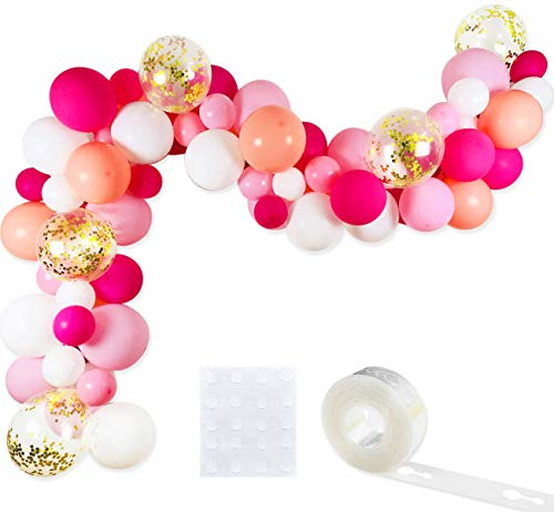 Pink Halloween Party (Pink Balloon Garland Kit, 75 Pack 12inch 5inch Hot Pink Coral Blush Baby Pink Rose Red White Gold Confetti Balloons Arch Strip Set for Baby Shower Wedding Flamingo Girl Birthday)