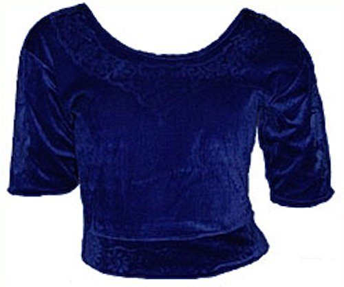 Bleu foncé Choli haut en velours ideal avec un sari Size XL