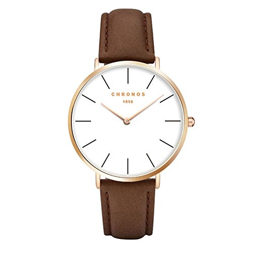- Fashion Classic Unisex Women Men Watch PU Leather Strap Anolog Ladies Gents Wrist Watch, Brown-Rose Gold
