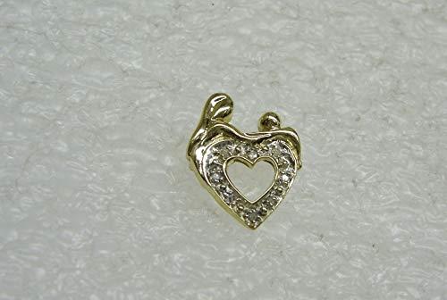 - Mother & Child 10K Yellow Gold Heart Pendant W/8 Round Diamonds SD-2247