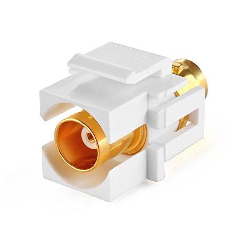 TNP BNC Keystone Jack Insert Connector Socket Female Snap In Adapter Port Gold Plated Inline Coupler For Wall Plate Outlet Panel Mount (White)