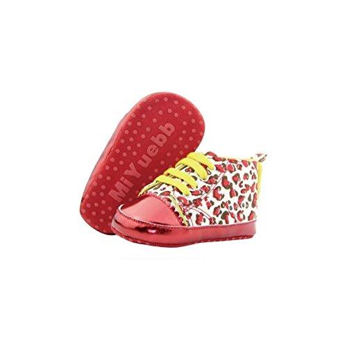 Zapato Basket suave Montante bebé de 0a 12meses, Modelo Leopardo Rojo 3/6Meses, 6/9Meses, 0/3meses, 9/12Meses rojo rojo Talla:9/12 mois