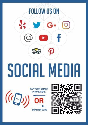 Like Us on Social Media - QR Code and NFC Tag - Two-Sided Window Decal Storefront -Window Sticker - Custom Designed for Facebook, Twitter, Instagram, Google Pinterest and Any Social Media
