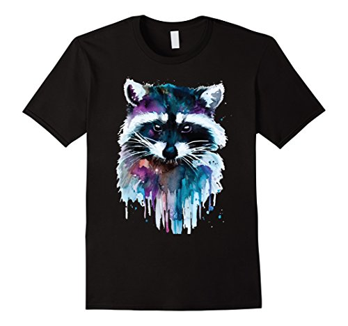 Mens Raccoon Shirt Illustrative Watercolor Psychedelic Raccoon XL Black