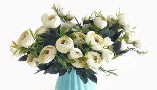 Mr Go Shop 4 Bundles (with Total 40Heads) Rose Flower Bouquet Artificial Floral Arrangement Artificial Flower- Fake Flowers for Home Decor, Weddings, Shower Centerpiece by Pure Garden(13.7