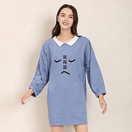فساتين - فساتين قصيرة نسائية ذات طابع صيني مطبوع عليها Harajuku سويت شيرت خريفي كاجوال بياقة متباينة فستان عالي قطن (أزرق XL)