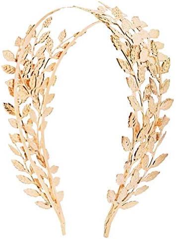 Colcolo Boheemse bruid hoofdband bruiloftsfeest prinses blaadjes haarhoepel goud