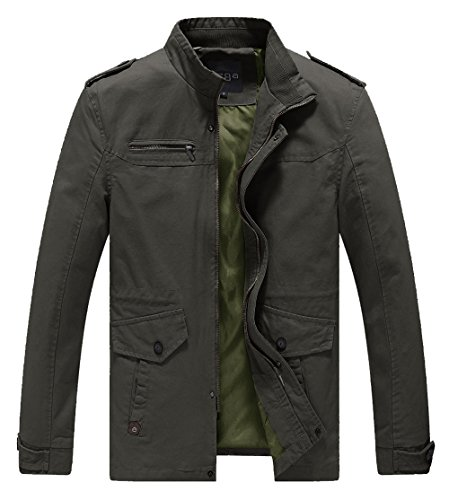 Waxed Military Jacket - Lega Men's Casual Thick Jacket Cotton Stand Collar Windbreaker, Green, Medium(US),3XL (ASIAN)