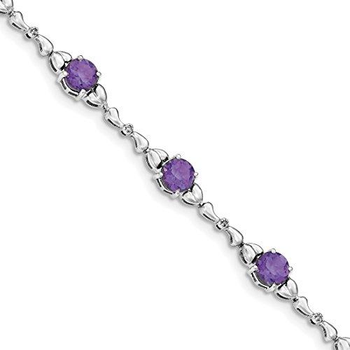 ICE CARATS 925 Sterling Silver Purple Amethyst Diamond Tennis Bracelet 7.50 Inch Gemstone Fine Jewelry Gift Set For Women Heart by ICE CARATS