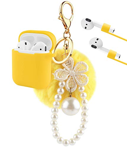 Airpods Case, KMMIN AirPods Protective Case Cover for Apple Air Pods 2&1 Charging Case Premium Silicone Skin Case Cover with Airpods Ear Hook Grips/Anti-Lost Cute Fur Ball Keychain- Yellow (Skin Silicone Cover Case Premium)