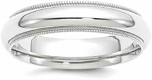 IceCarats Palladium Milgrain Comfort Fit 5mm Wedding Ring Band Classic