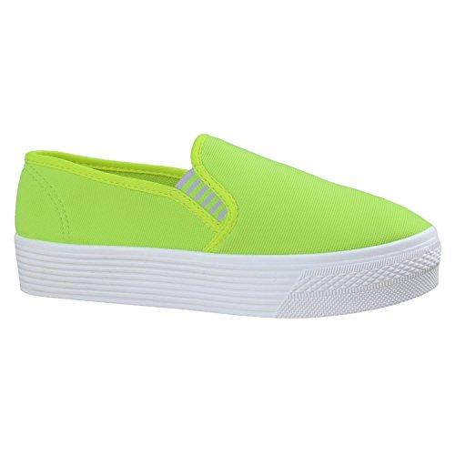 Flandell Damen Plateau mit Slip Neongrün Stiefelparadies Glitzer Ons Sneaker AFqpnvw