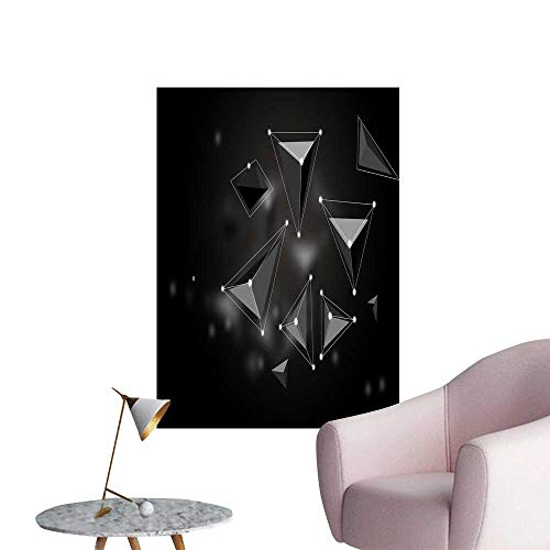SeptSonne Wall Stickers for Living Room Black sterepolygon Background Vinyl Wall Stickers Print,32